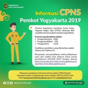Pengadaan Calon Pegawai Negeri Sipil (CPNS) Pemerintah Kota Yogyakarta Formasi Tahun 2019