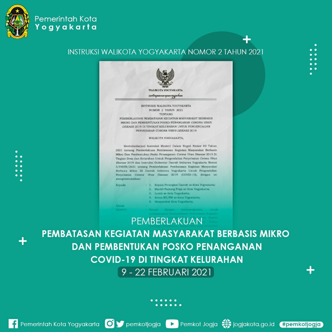Pemberlakuan Pembatasan Kegiatan Masyarakat  (PPKM) Berbasis Mikro dan Pembentukan Posko Penanganan COVID-19 di Tingkat Kelurahan untuk Pengendalian Penyebaran COVID-19