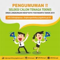 Pengumuman Lowongan Tenaga Teknis Dinas Lingkungan Hidup Kota Yogyakarta Tahun 2019